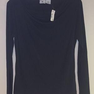 Worthngton black long sleeve cowl neck blouse